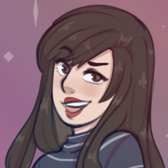 A cartoon depiction of Katie Youmans, a person with long dark brown hair and a blue and gray striped mock turtleneck